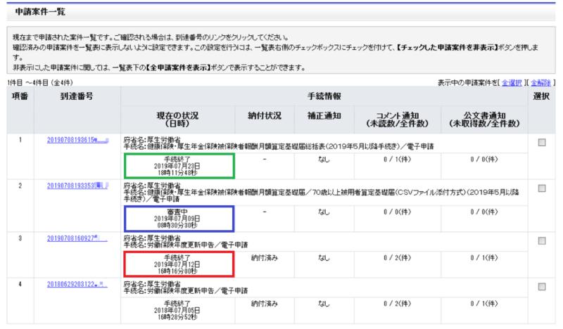 e-Govパーソナライズ申請案件一覧画面