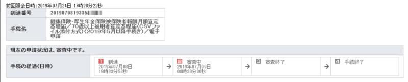 e-Govパーソナライズ状況確認「算定基礎届」画面
