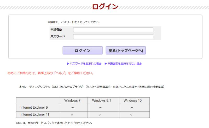 登記・供託オンライン申請システム、ログイン画面