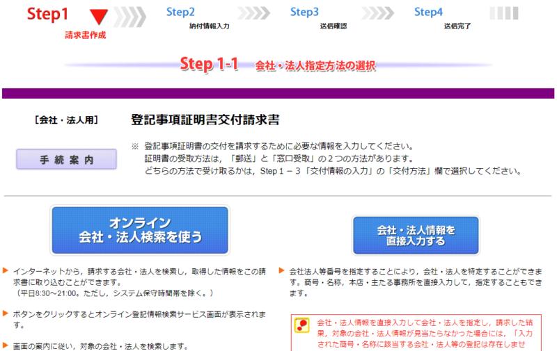 登記・供託オンライン申請システム、Step1-1会社・法人指定方法の選択画