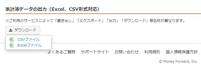 マネーフォワード MEのCSV形式ダウンロード画面