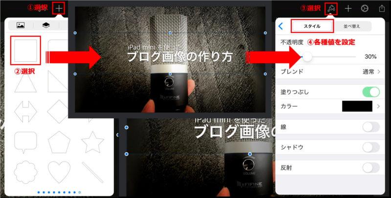 iOS版 Pixelmatorの半透明帯入れ説明画像