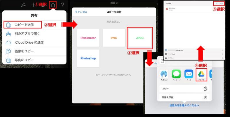iOS版 Pixelmatorで作った完成画像をGoogleドライブにupする場合の説明画像