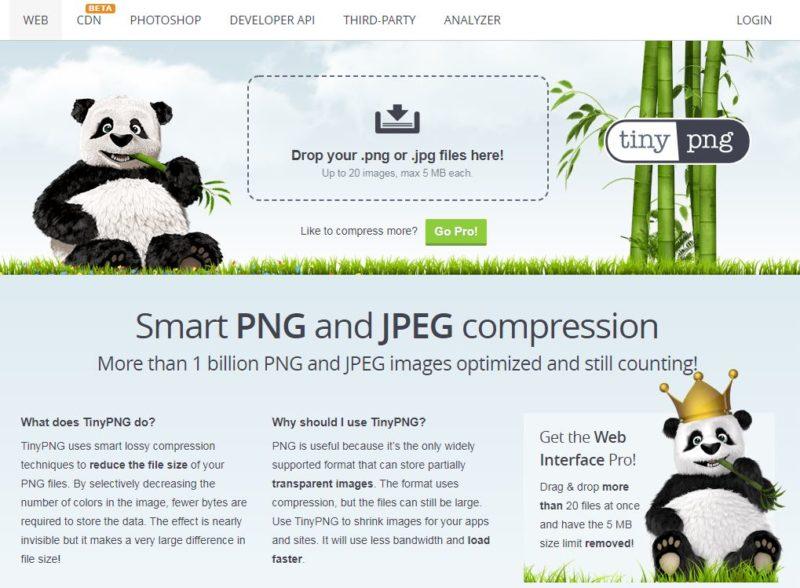 TinyPNGのサービス画面