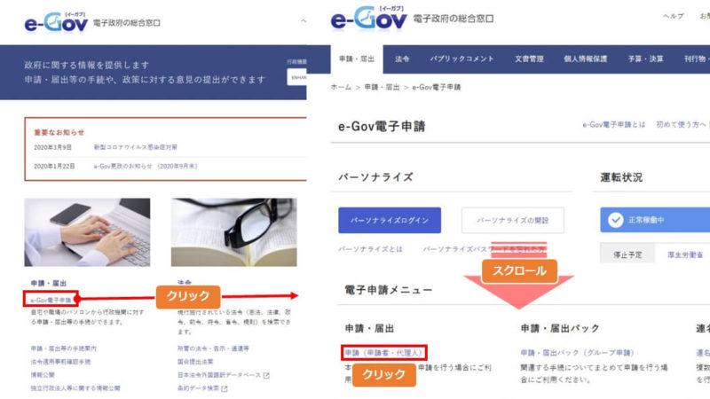 eーGovのホームページから手続検索画面を呼び出す手順の説明画像