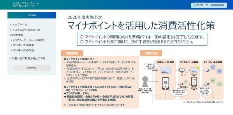 マイキープラットフォーム 利用者マイページのTOP画面