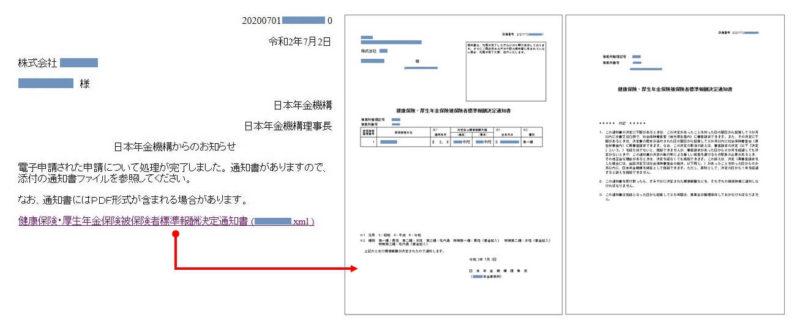 健康保険・厚生年金保険日保険者標準決定通知書のxml形式の画像