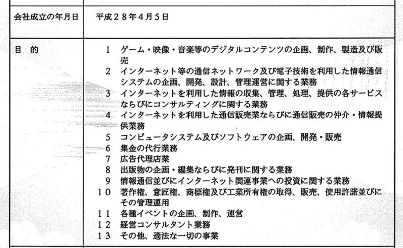 履歴事項全部証明書の会社目的欄の画像