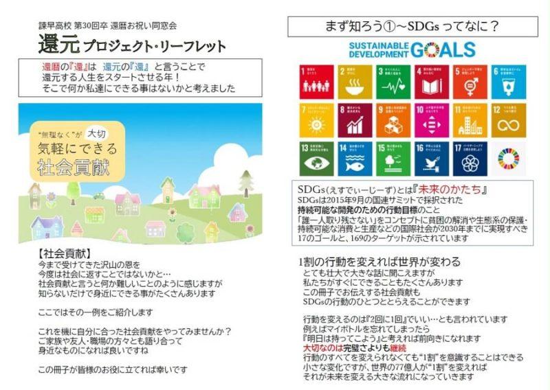 SDGsを題材に還暦の時に高校の同窓会でつくったリーフレット