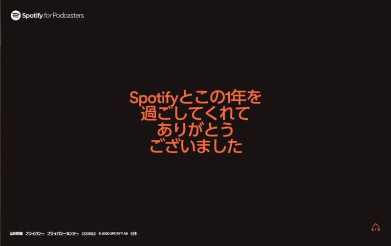 Spotify 2020 BizHack MEDIA p5 ありがとう画面
