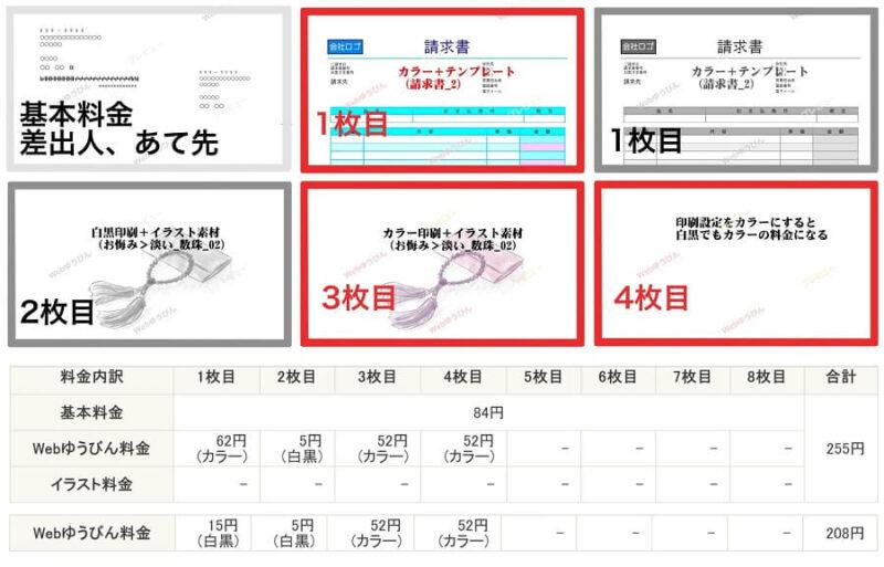 webレターは、1枚ごとに印刷設定を白黒とカラーに設定できる。料金内訳つき
