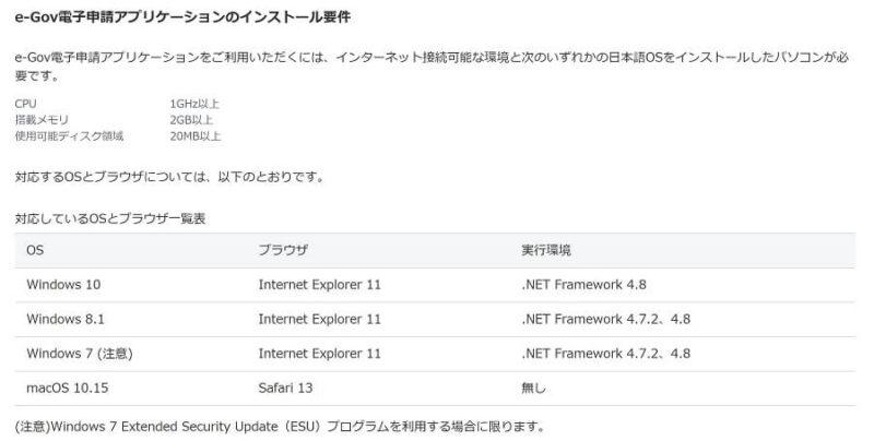 e-Govのインストール要件画像